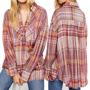 Free People Tops Rainbow Days Plaid Tunic Blouse M